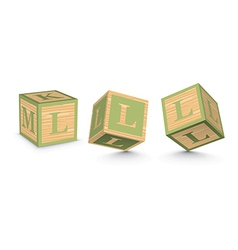 Letter l wooden alphabet blocks vector