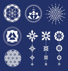 Sacred geometry art elements vector image