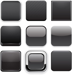 Square black app icons vector