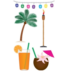 Collection of tropical vacation items vector
