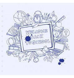 Notebook blackboard frame greeting card welcome vector