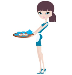 Young attractive waitress vector