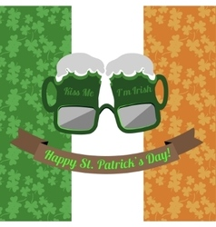 Beer glasses Kiss Me Im Irish for Saint Patricks vector image