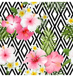 Tropical Flowers and Leaves Geometric Background vector image