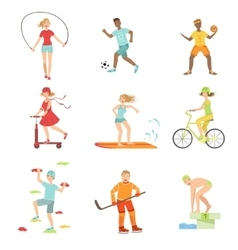 People enjoying physical activities vector