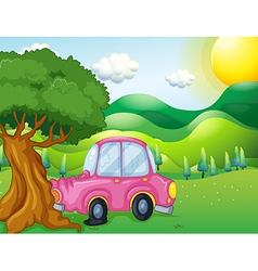 A pink car bumping the big tree vector