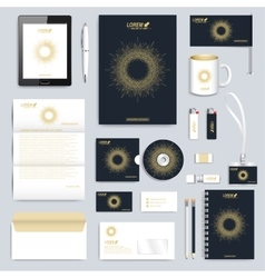 Black set of corporate identity template vector