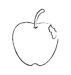 blurred silhouette bitten apple fruit vector image