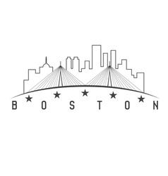 Boston massachusetts usa skyline design vector