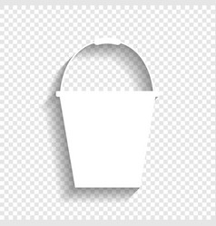 Bucket sign for garden white icon with vector