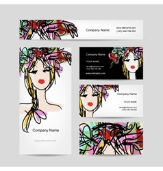 Business cards design with female floral head vector
