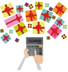 Calculator and gifts count on presents vector