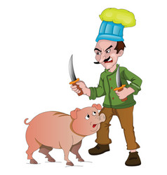 chef with knives to cut up a pig vector image