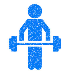 Child power lifting grunge icon vector