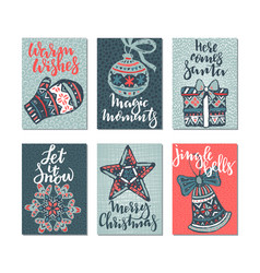 Collection of six christmas greeting cards vector