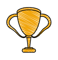 Color crayon stripe cartoon golden cup trophy with vector