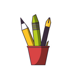 cup with writing tools icon vector image vector image