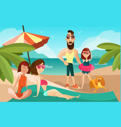 family on a beach cartoon vector image