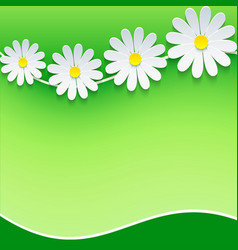 Floral frame background with 3d chamomile vector image
