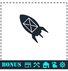Flying message icon flat vector