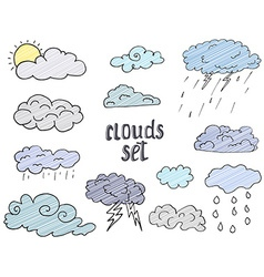 Hand drawn doodle set of different clouds sketch vector