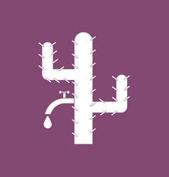 Icon cactus with crane vector