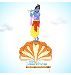 Krishna dancing on kaliya naag vector