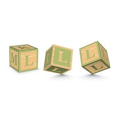 Letter l wooden alphabet blocks vector