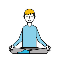 lotus pose blond man cartoon vector image