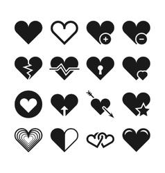 Love heart icons set vector