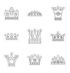 Majestic crown icon set outline style vector