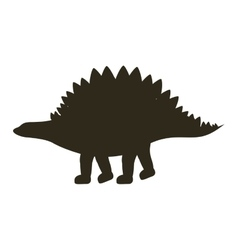 monochrome silhouette with dinosaur stegosaurus vector image vector image