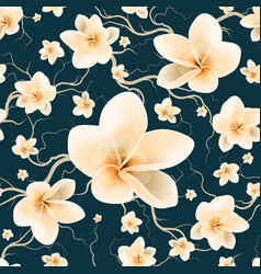 Pattern with branch and spring flowers vector