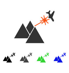 Piramides strike airplane flat icon vector
