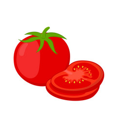 Red tomatoes and slices cartoon flat tomato vector