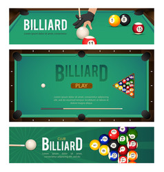 Set of pool billiard snooker tournament banners vector