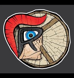Spartan warrior face profile textured background vector