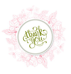 Thank you card plant in blossom branch with vector
