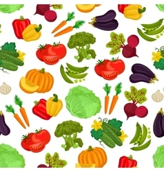 Vegetables seamless vegan pattern of flat icons vector