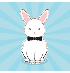 White Bunny with Bow vector image