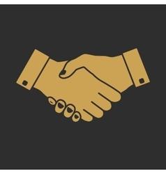 Handshake icon gold vector image