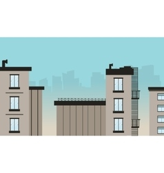 Silhouette of flat building design vector
