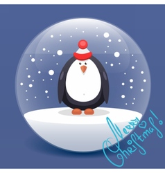 Christmas flat penguin vector