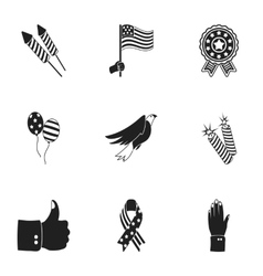 Patriot Day set icons in black style Big vector image