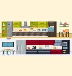 modern kitchen horizontal banners vector image
