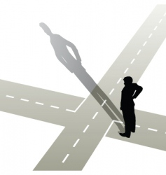 Man at crossroads vector