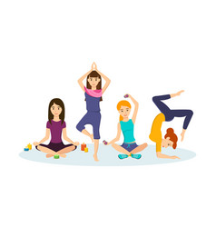 Girls engaged in sports and yoga positions vector