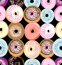 Pattern delicious donuts vector