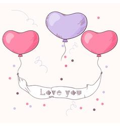 Hand drawn heart balloons holding ribbon vector