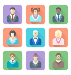 Various flat design people in glasses icons set vector